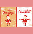 cute santa greetings on postcards merry christmas vector image vector image