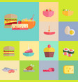 delicious meals and desserts set vector image