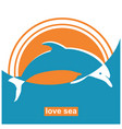 dolphin jumping in sea sign concept vector image