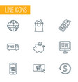 ecommerce icons line style set with shopping bag vector image