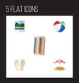 flat icon beach set of wiper sphere parasol and vector image vector image