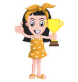 girl holding trophy on white background vector image vector image