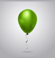 green helium balloon with ribbon isolated on grey vector image vector image