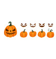 halloween pumpkin and smile faces generator set vector image