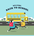 happy student running to the bus vector image vector image