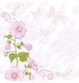 Holiday background with mallow flowers vector image vector image