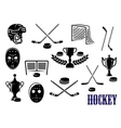 Ice hockey icons with caption Hockey vector image