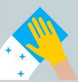icon cleaning in apartment gloved hand vector image vector image