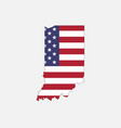 indiana map on american flag vector image