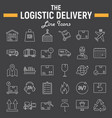 logistic thin line icon set delivery symbols vector image vector image