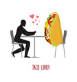 Lover taco Lovers in cafe Man and fastfood sitting vector image vector image