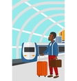 Man with suitcase on wheels and briefcase vector image vector image