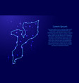 map mozambique from the contours network blue vector image vector image