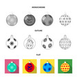 new year toys flatoutlinemonochrome icons in set vector image vector image