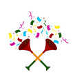 pair of party trumpets icon vector image vector image