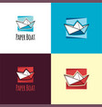 paper boat logo and icon vector image vector image