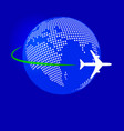 plane fly over earth dot map vector image vector image
