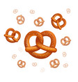 realistic tasty pretzels on the white vector image