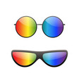 round multicolor sunglasses 3d set summer vector image
