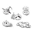 scary halloween pumpkins vector image