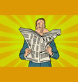 scary scary bad news in the newspaper reader vector image vector image