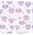 seamless lilac texture with hanging doodle hearts vector image vector image