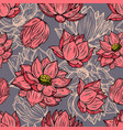 seamless pattern with lotus flowers design vector image