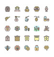 set honey flat color line icons beekeeper vector image