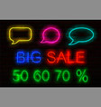 Set neon signs with luminous for sales speech
