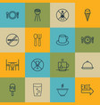 set of 16 food icons includes coffee cup lolly vector image vector image