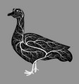 silhouette of a goose with a texture of a bush vector image