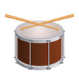 small round drum and wooden sticks to play vector image vector image