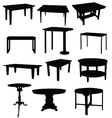 tables for home in black color silhouette vector image vector image