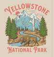 vintage yellowstone national park bison mountain g vector image vector image