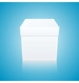 White Gift Box on Blue Background Front View vector image vector image