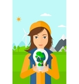 Woman with lightbulb and trees inside vector image vector image