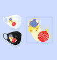 xmas colourful ornaments face mask mockup with vector image