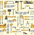 seamless pattern set with carpentry tools vector image