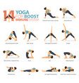 14 yoga poses for workout in boost immune system vector image vector image