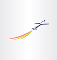 airplane with color smoke airlines symbol vector image