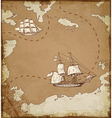 Ancient map with ships vector image vector image