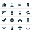 army icons set collection of target military vector image vector image