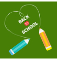 Back to school card card Two pencils dash heart vector image vector image