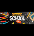 back to school sale horizontal banner pencils and vector image vector image