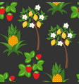 berry lemon pineapple seamless pattern vector image vector image