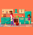 black housewife cleaning kitchen vector image vector image