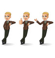 blonde businessman in brown suit leaning against vector image vector image