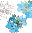 Blue mallow color and stencil version vector image vector image