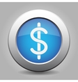 blue metal button with dollar currency symbol vector image