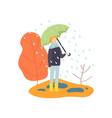 boy walking in rain under umbrella autumn season vector image